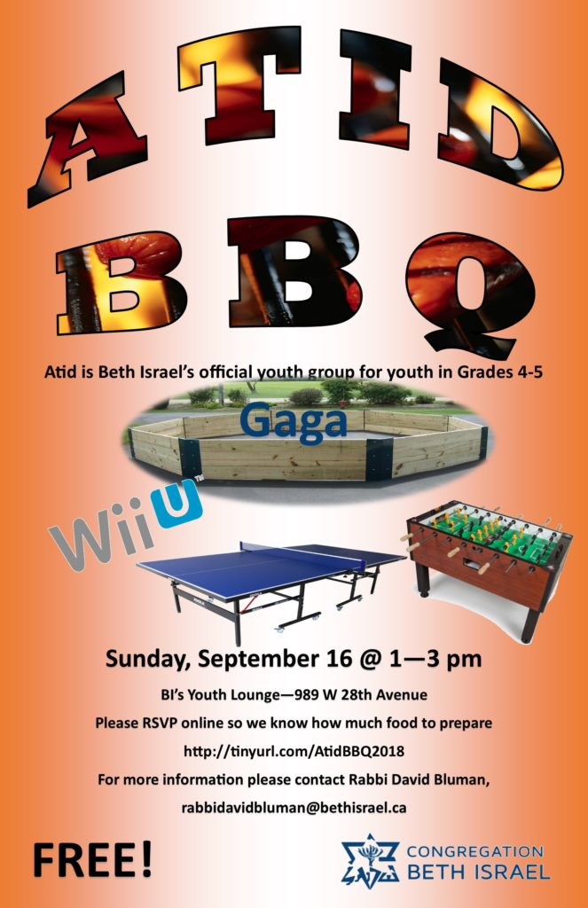 Atid is Beth Israel's official youth group for those in Grades 4&5.